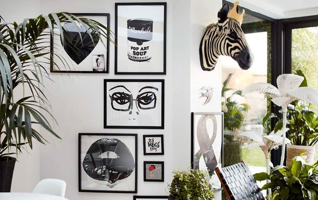 An eclectic art display encouraging you to break the rules with your homewares