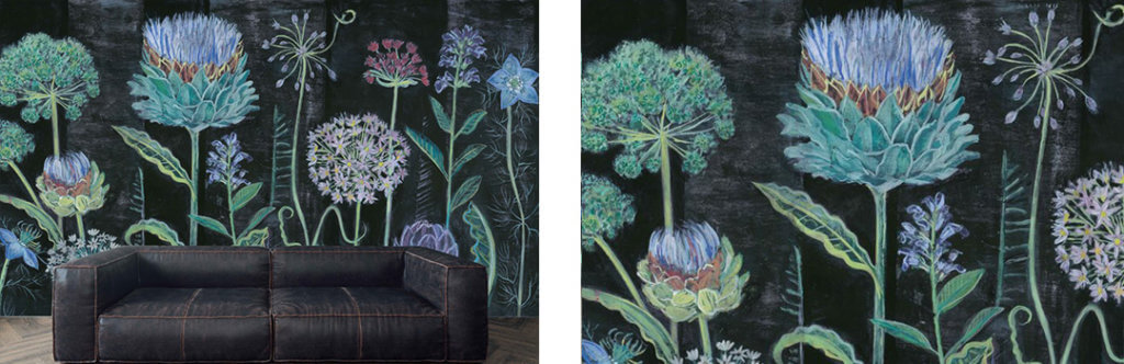 black floral wall mural