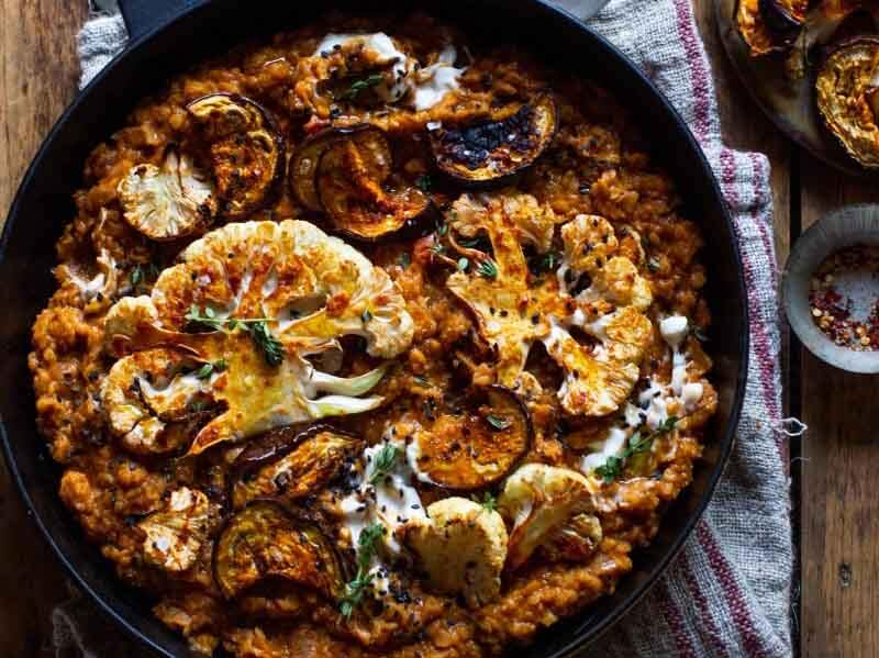 best-crowd-pleaser-recipe-rebel-recipes-smokey-lentils-harissa-roast-cauliflower-aubergine