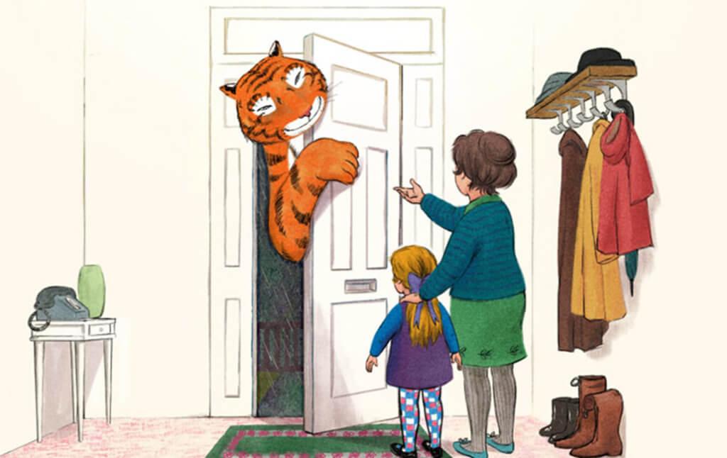 Judith Kerr's illustration of the tiger peeking around the door.