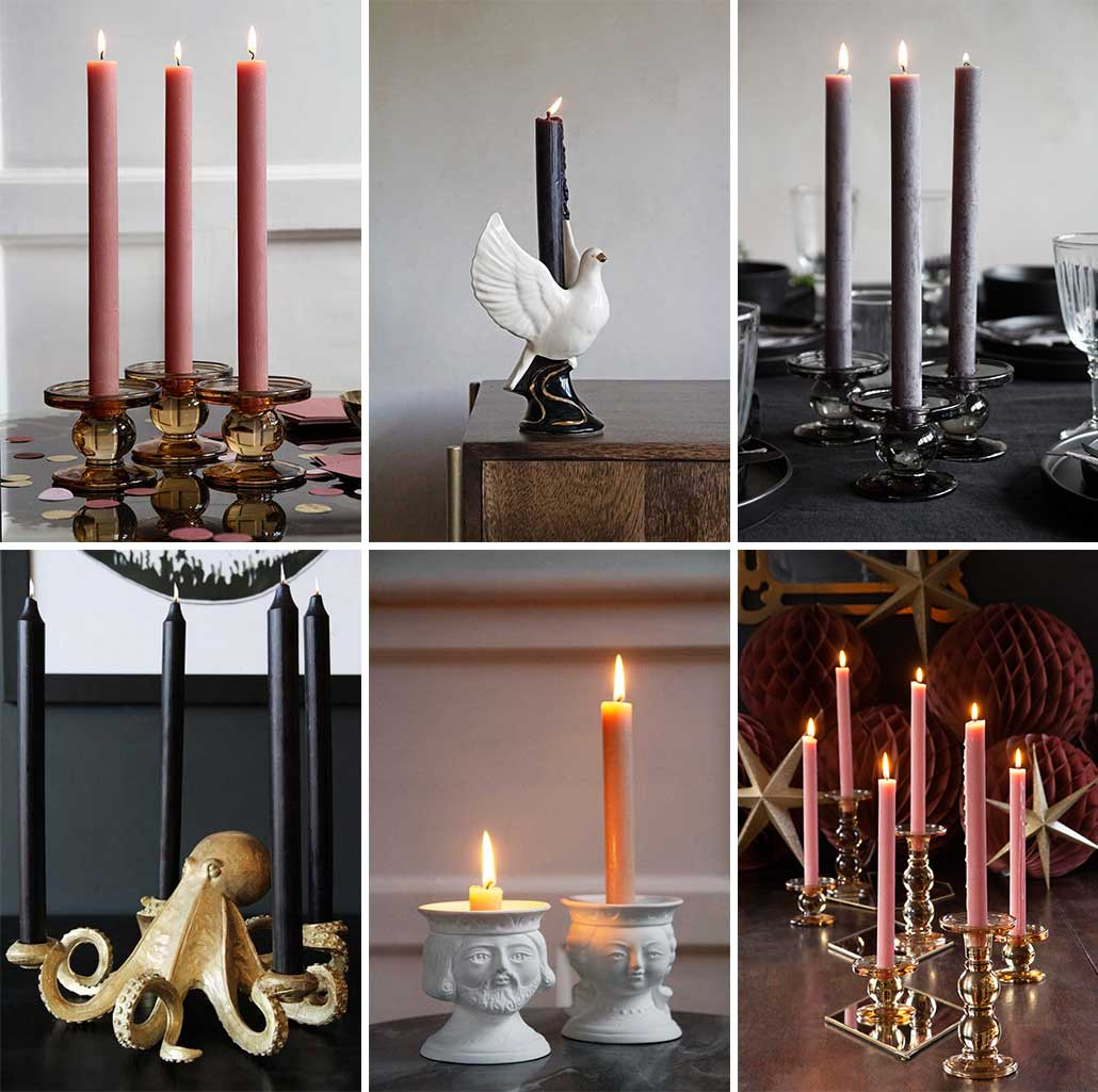 lifestyle grid of candles and candle stick holders