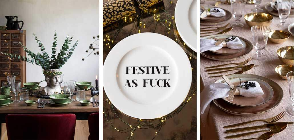 lifestyle grid of Christmas table setting and plates