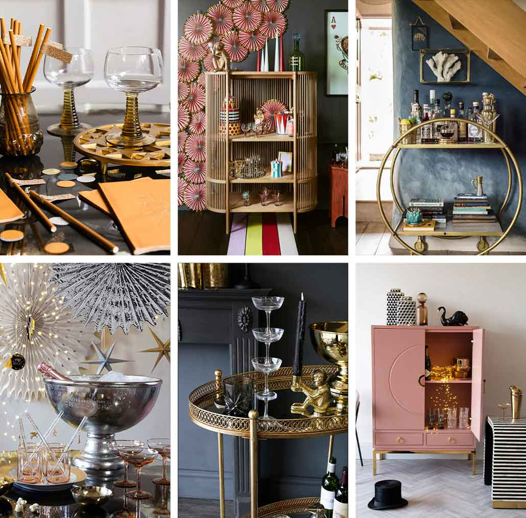 lifestyle grid image of bar and party accessories for the home