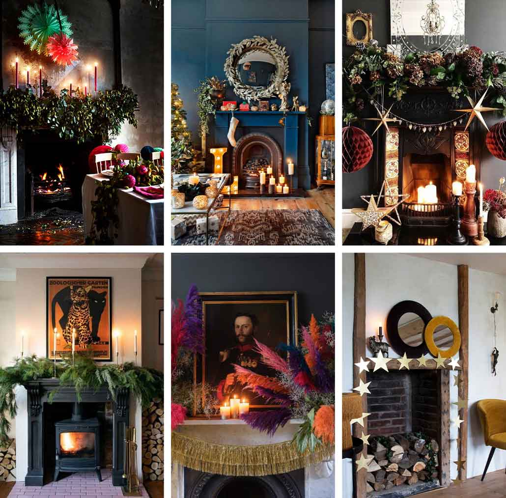 lifestyle grid image of Christmas party fireplace designs