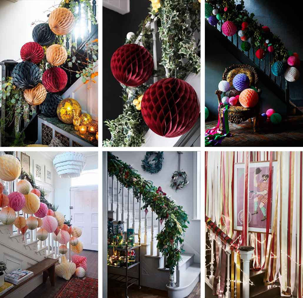 lifestyle grid image of Christmas party staircase ideas