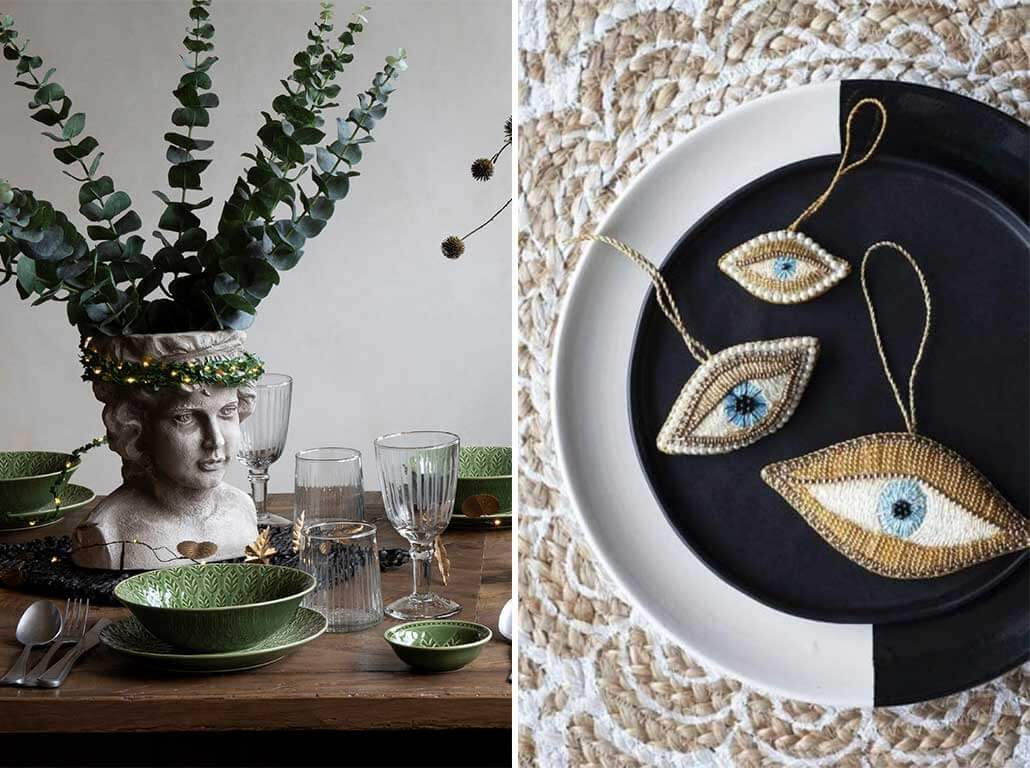lifestyle grid of Christmas table setting, Christmas plates and Christmas decorations