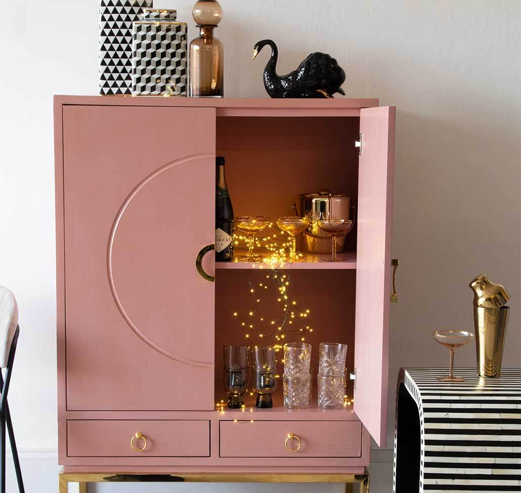 Pink Drinks Cabinet Cupboard with Fairy Lights Christmas Home Design Idea