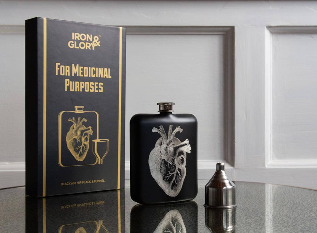 Black Hip flask with Anatomical heart etched onto front
