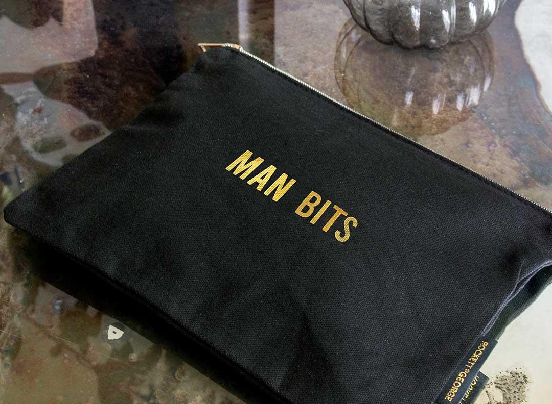 rockett st goerge man bits black and gold wash bag stocking filler for him gift idea