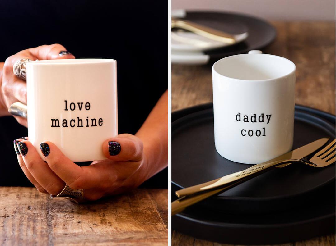 love machine mug and daddy cool mug