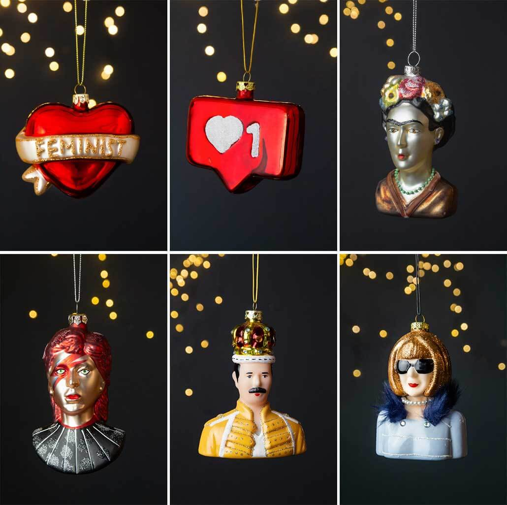 lifestyle grid of Christmas tree decorations with pop culture icons and influences