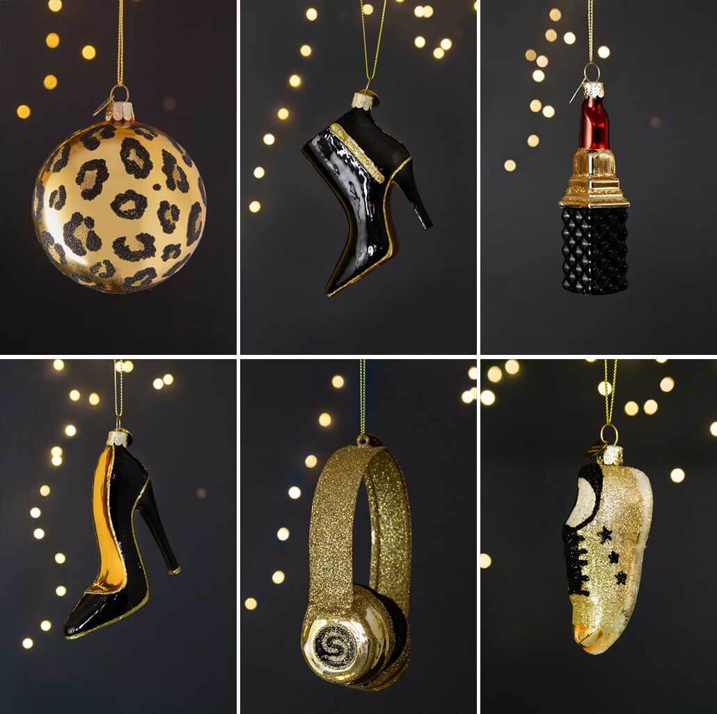 lifestyle grid of fashion inspired Christmas tree decorations