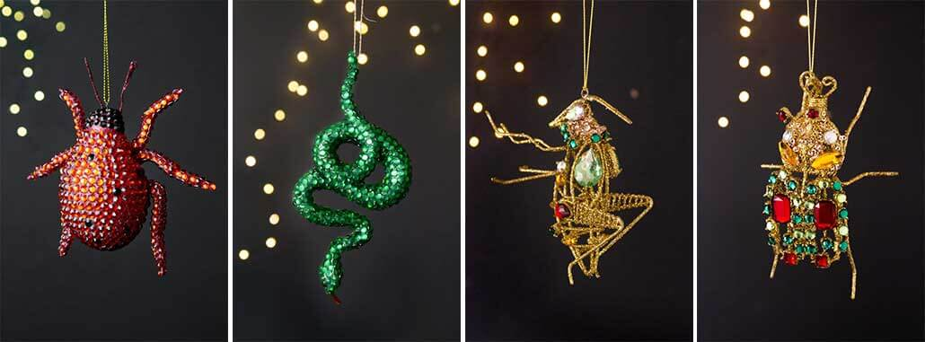 lifestyle grid of Christmas tree decorations with rhinestones