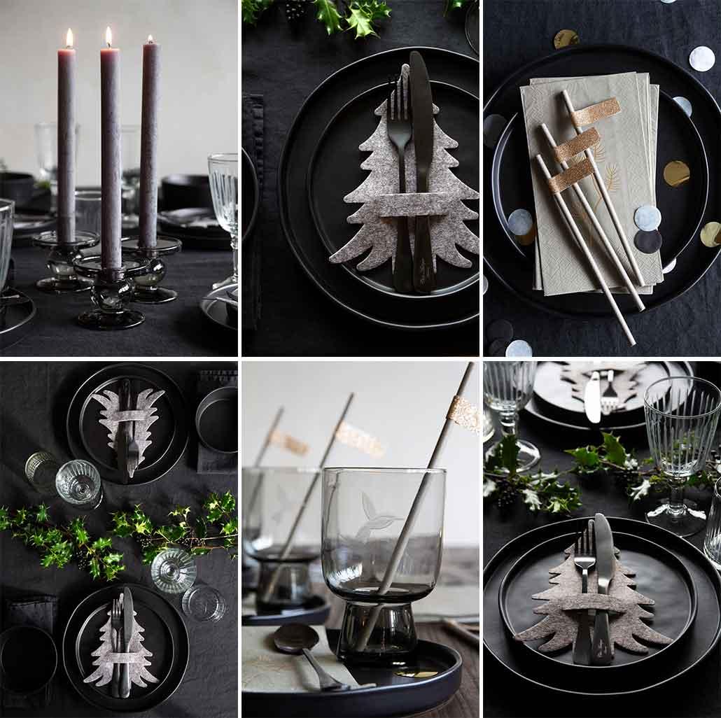 lifestyle grid image of black modern Christmas table setting
