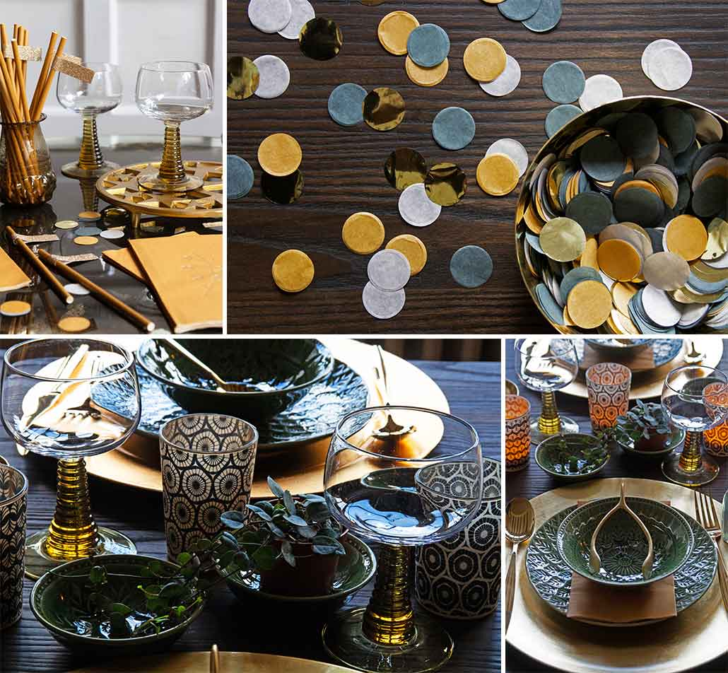 lifestyle grid image of mustard gold and green Christmas table setting ideas