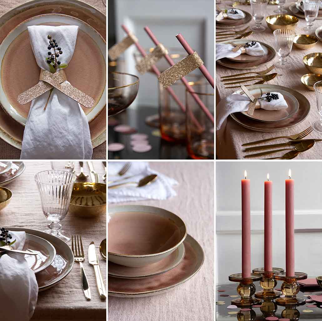 lifestyle grid image of pink and gold table setting for Christmas dinner