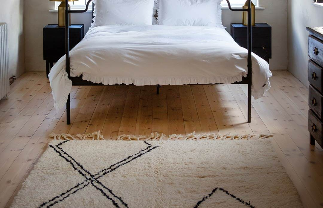 soft moroccan berber rug in the bedroom