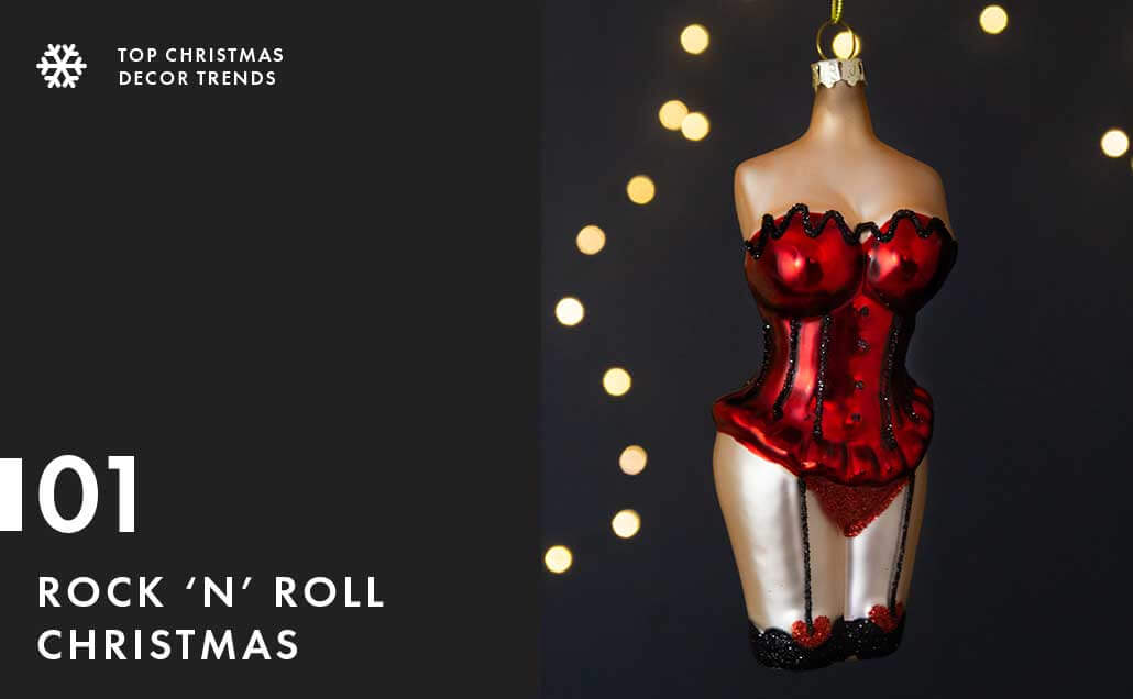 Lifestyle image of the Female Burlesque Christmas Tree Hanging Bauble