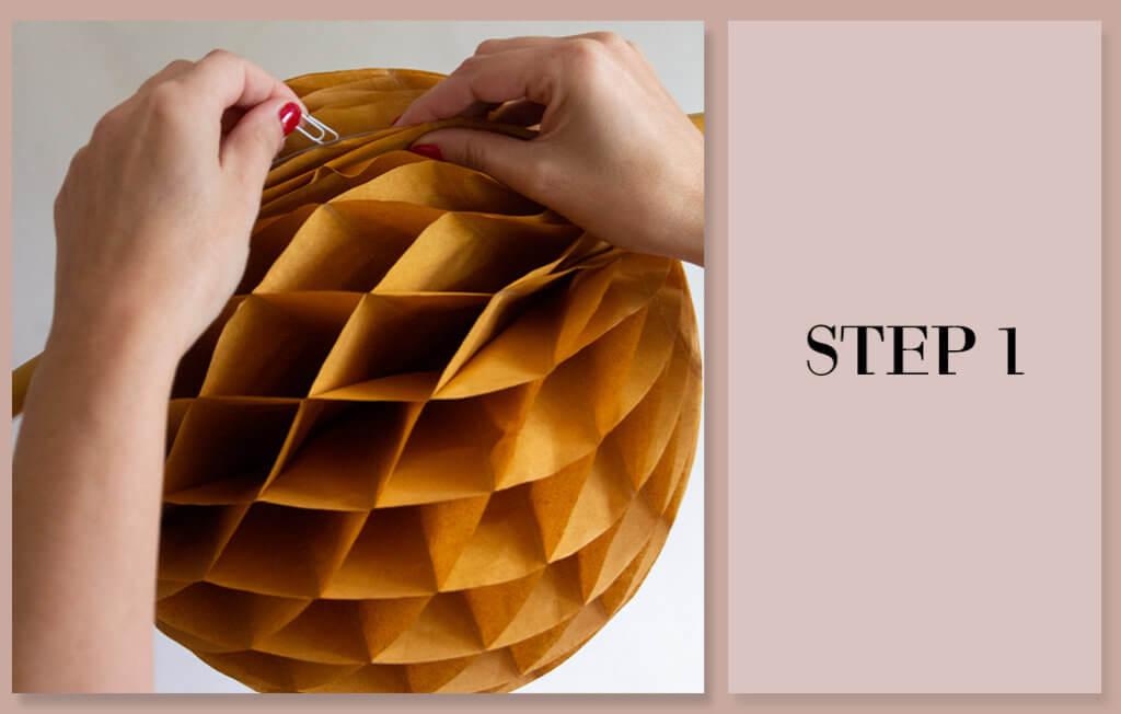 Step 1 - Build your honeycomb pom pom around the hoop