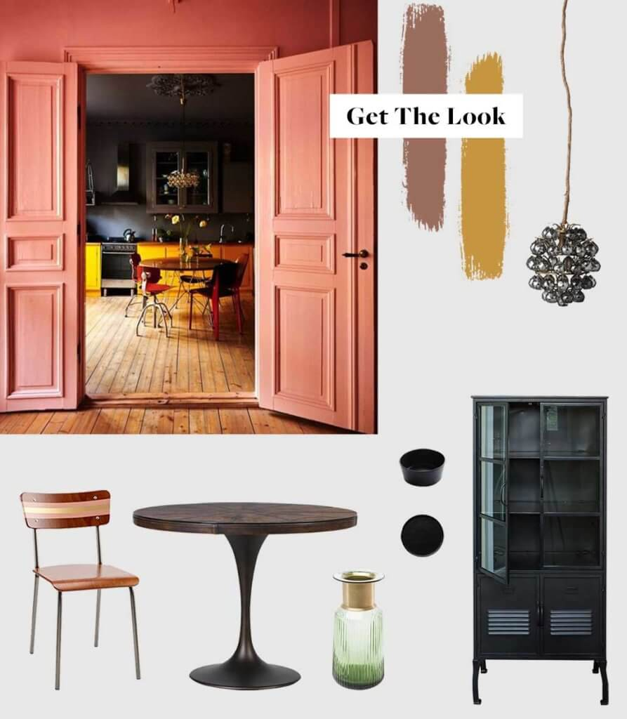 moodboard for a colourful kitchen