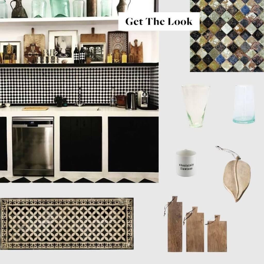 moodboard for a greek style kitchen