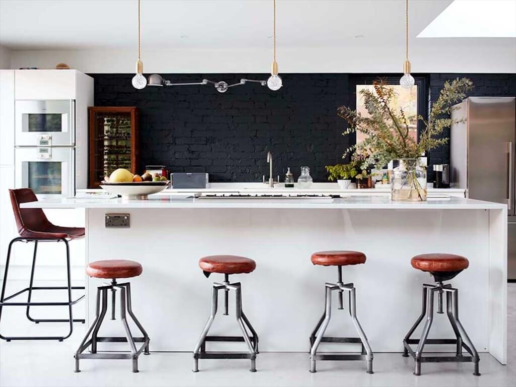 industrial kitchen with black brick wallpaper