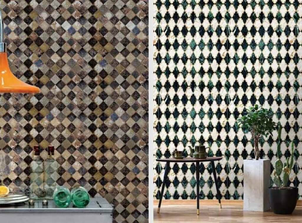 two images of tile effect wallpaper