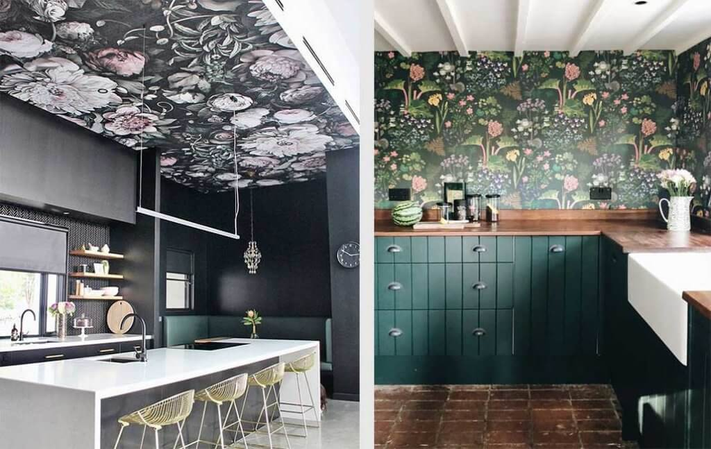 two images of kitchens with floral wallpaper