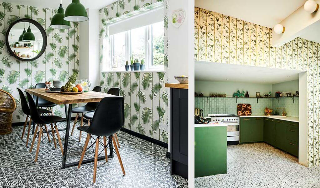 two images of a jungle wallpaper kitchen and dining room