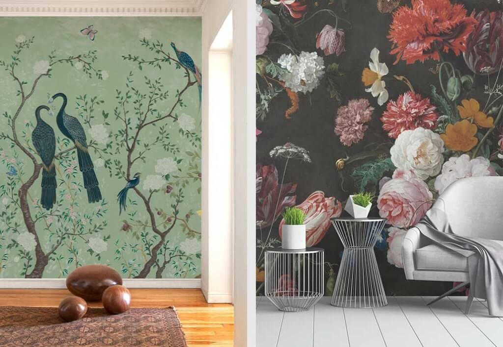 two images of nature inspired wall murals