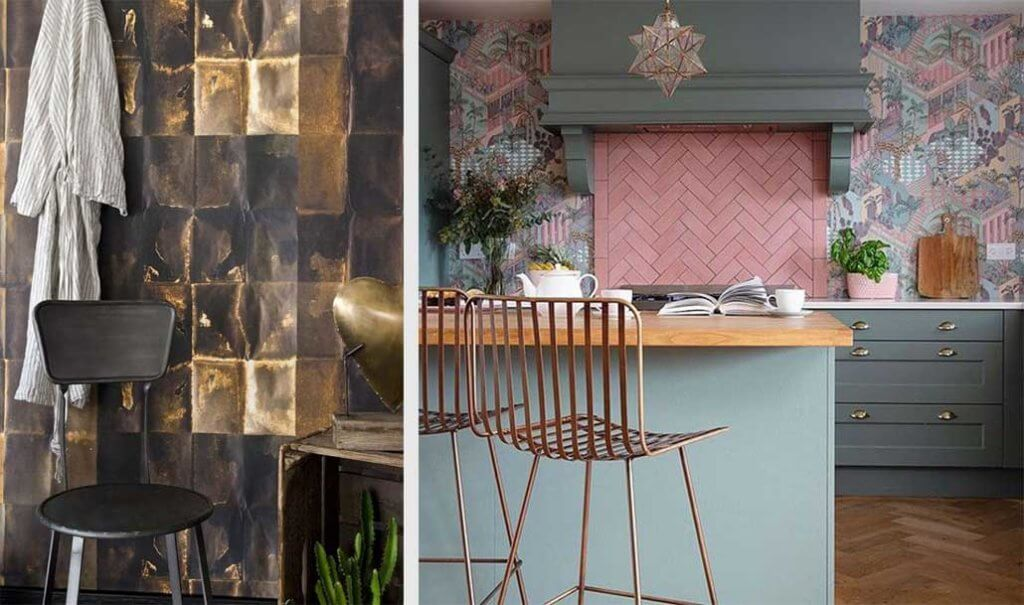two images of modern wallpaper in the kitchen