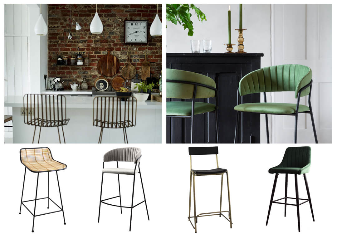 lifestyle image and product images of beautiful bar stool ideas for the kitchen