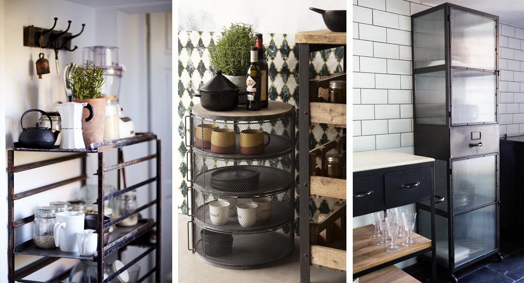 lifestyle grid image of freestanding kitchen decor storage ideas