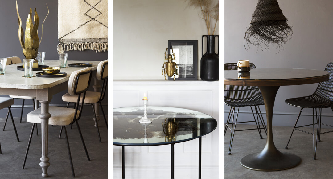 lifestyle grid of kitchen table decor ideas