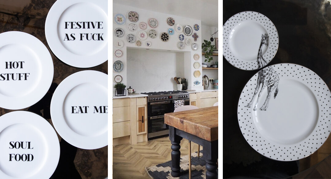 lifestyle grid of playful plates for the kitchen