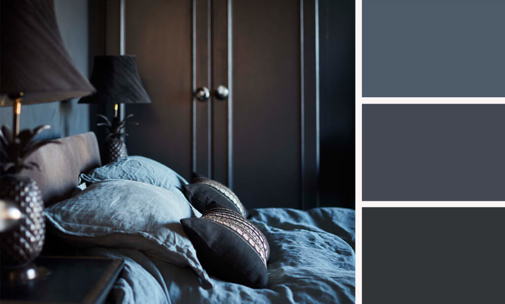 dark bedroom with three paint colours