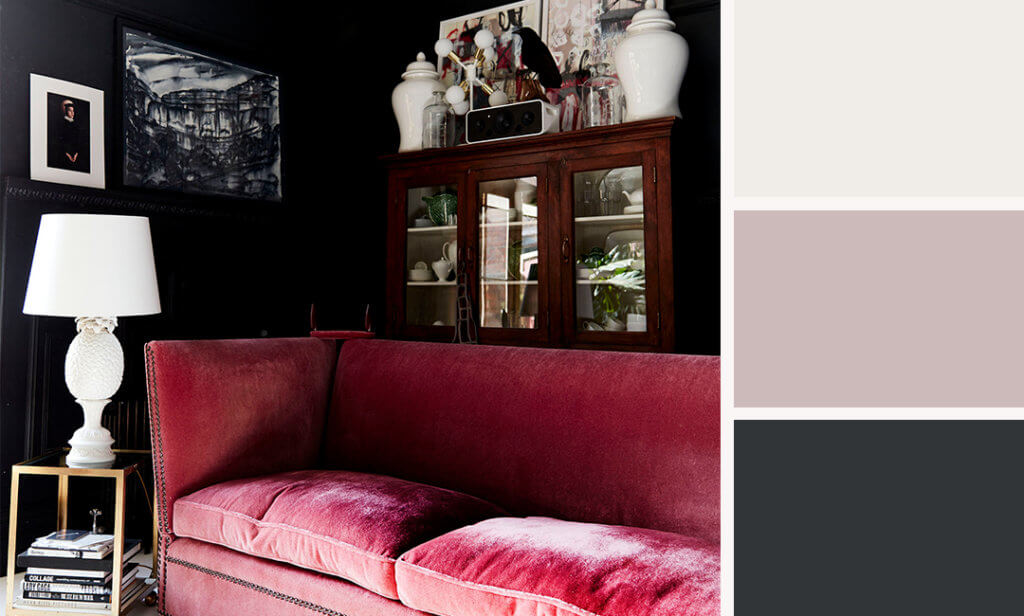 dark paint living room with pink sofa and colour palette