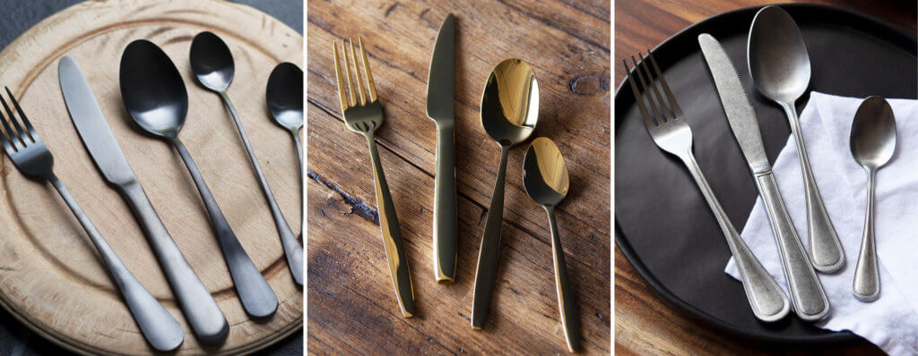 three images of cutlery sets