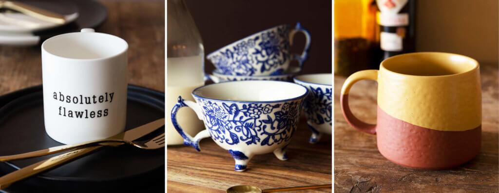 three images of coffee and tea mugs