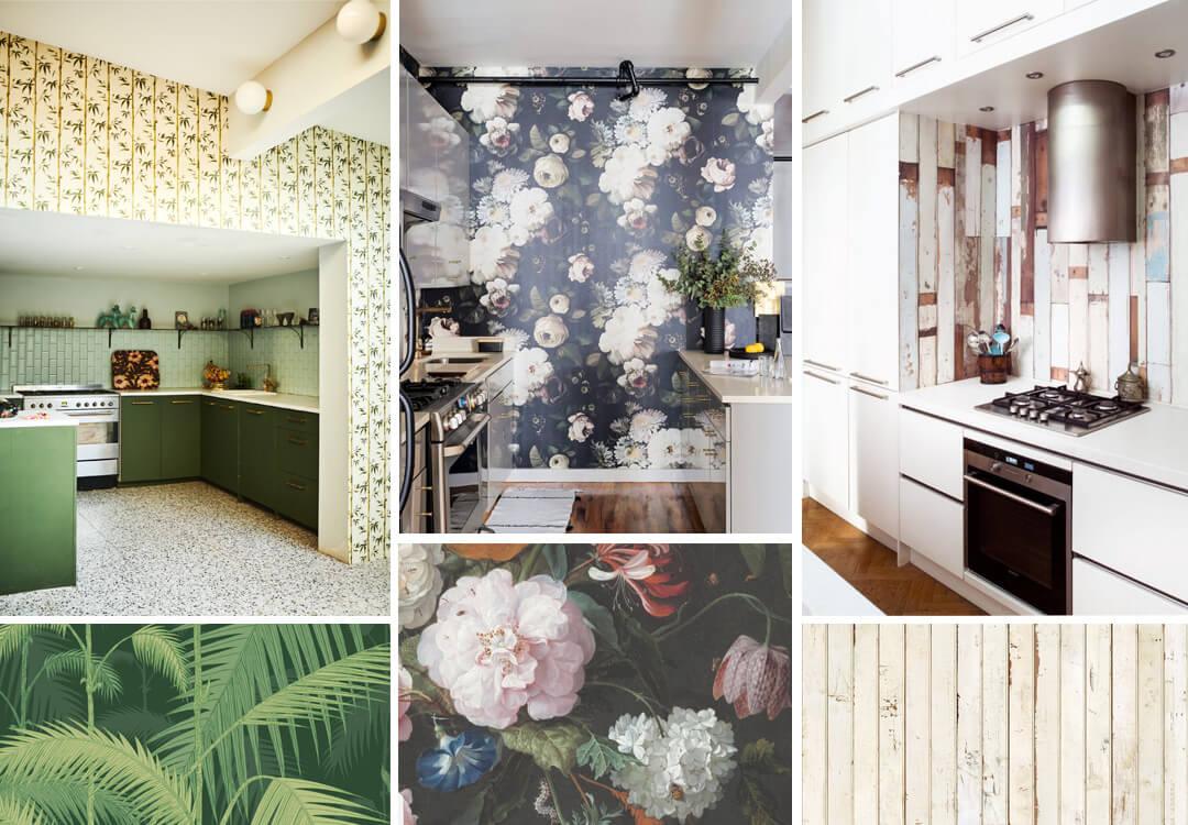 lifestyle grid of kitchen wallpaper