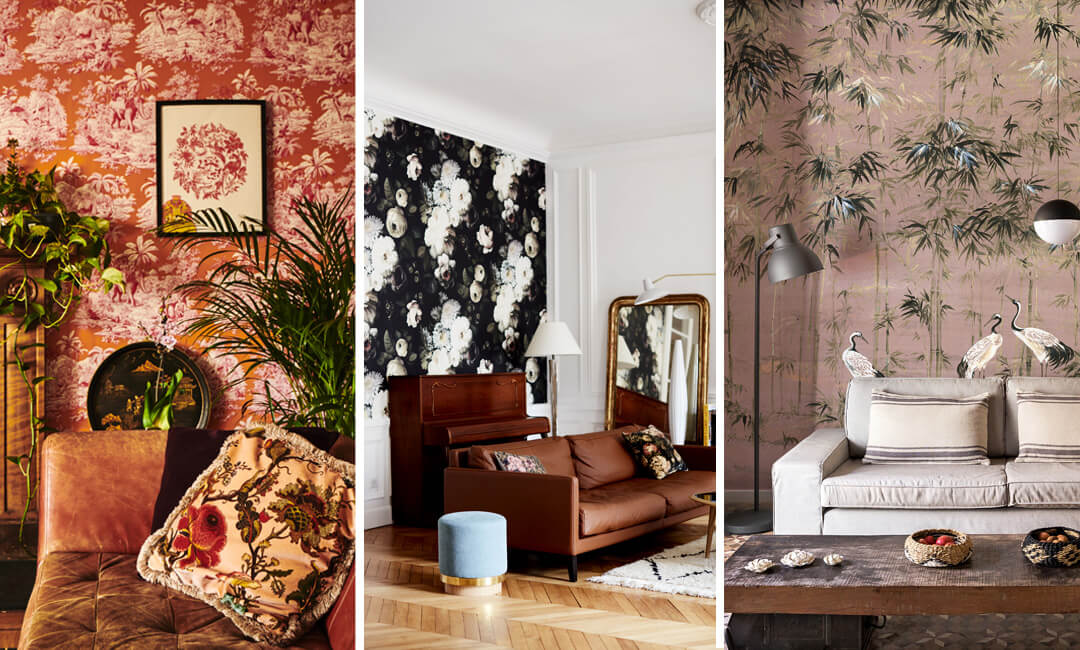 lifestyle image of patterned living room walls