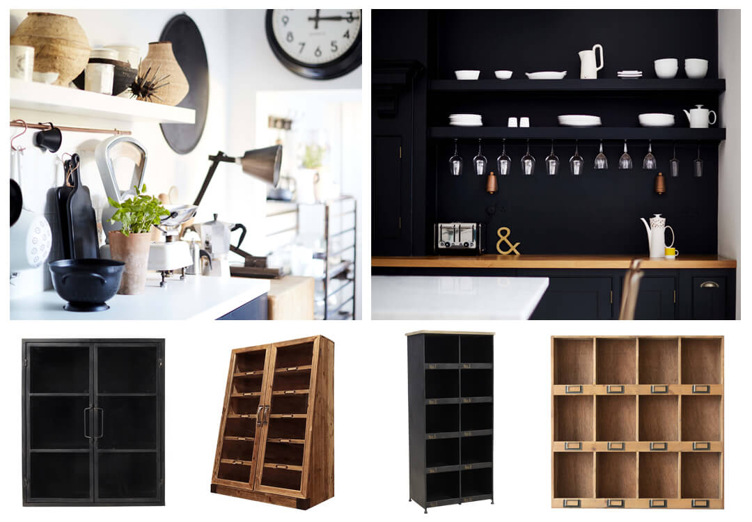 lifestyle and product images of stylish kitchen shelving