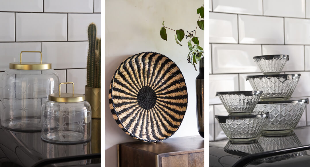 lifestyle grid image of kitchen decor counter storage ideas