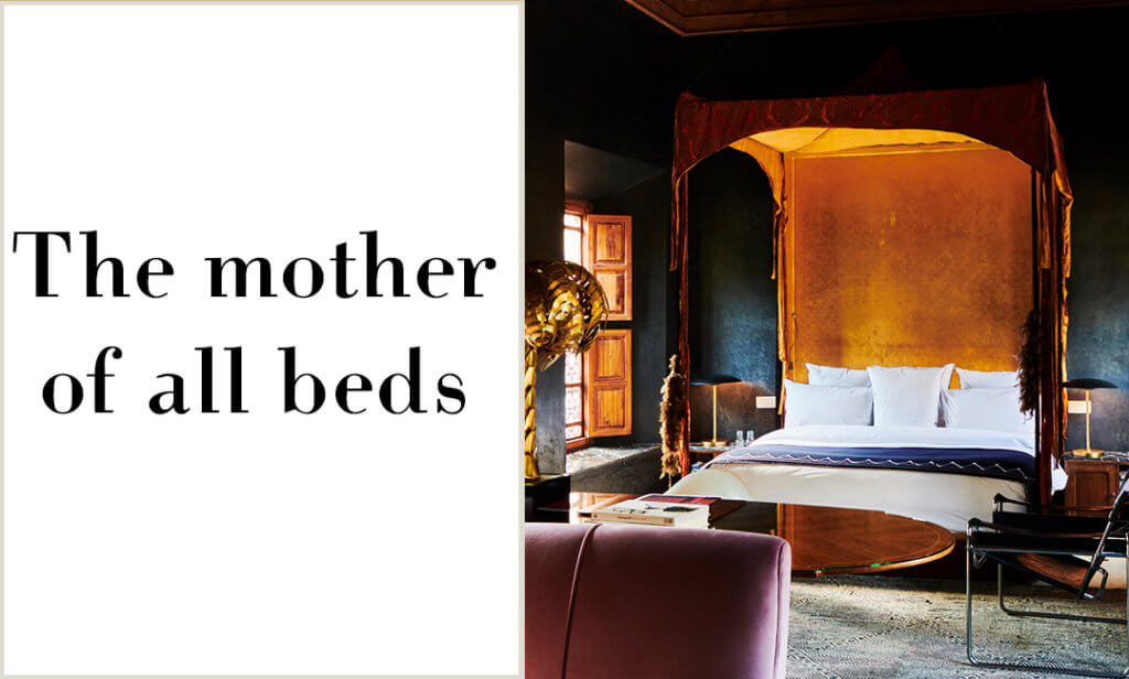 the mother of all beds - four poster bed in el fenn, marrakech.